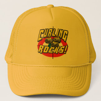 Curling Rocks Yellow Stones t-shirts Gift Ideas Trucker Hat