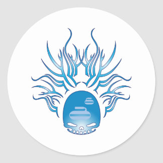 Curling Skull Classic Round Sticker