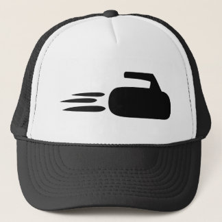 curling stone icon trucker hat