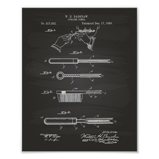 Curling Tongs 1889 Patent Art Chalkboard Poster