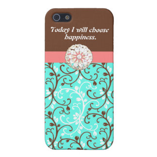 Curling Vines with Rhinestone Bauble iPhone 5 Case