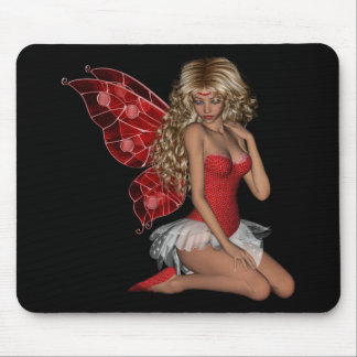 Curly Blond 3D Fairy in Pink Mouse Mat
