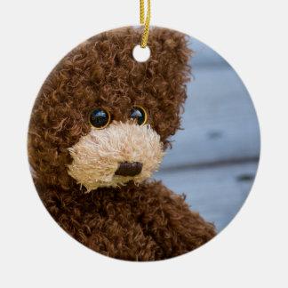Curly Brown Teddy Bear Christmas Ornament