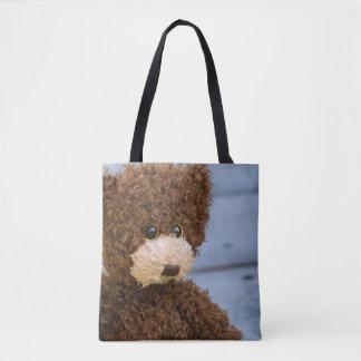 Curly Brown Teddy Bear Tote Bag