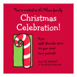 Curly Candy Cane red Christmas Party Invitation