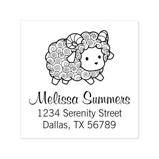 Curly Coat Little Sheep Ram Address Self-inking Stamp