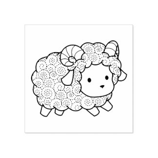 Curly Coat Little Sheep Ram Rubber Stamp