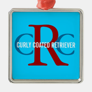 Curly Coated Retriever Breed Monogram Silver-Colored Square Decoration