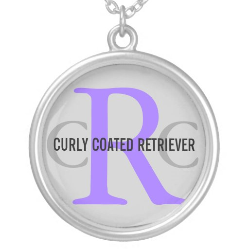 Curly Coated Retriever Breed Monogram Round Pendant Necklace