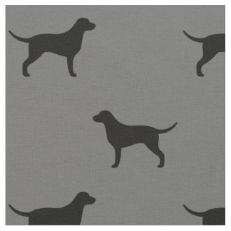 Curly Coated Retriever Silhouettes Pattern Fabric