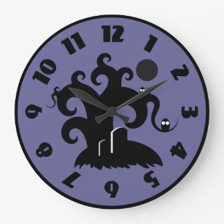 Curly Craggy Halloween Tree with Owls Wallclocks