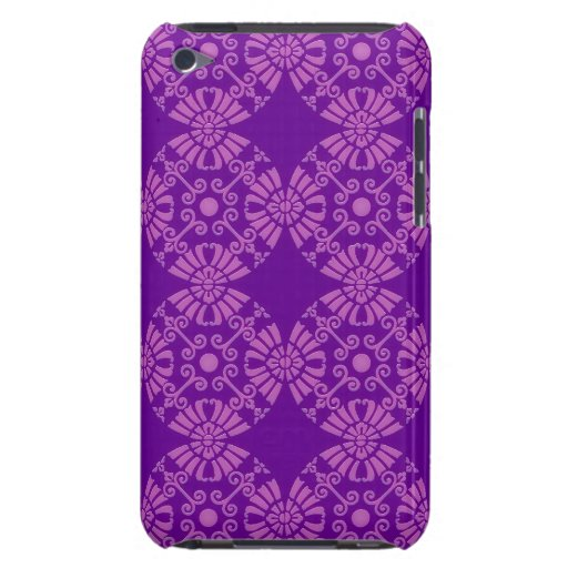 Curly Cute Flowers - Pink on Purple Barely There iPod Covers