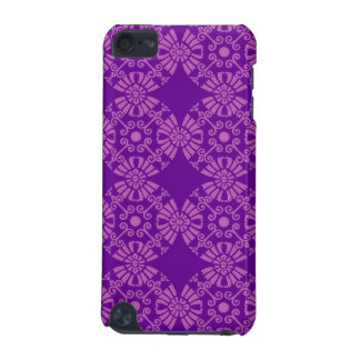 Curly Cute Flowers - Pink on Purple iPod Touch (5th Generation) Cover