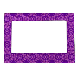 Curly Cute Flowers - Pink on Purple Photo Frame Magnets