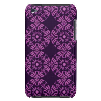 Curly Cute Flowers - Purple on Black iPod Case-Mate Cases