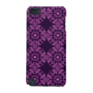 Curly Cute Flowers - Purple on Black iPod Touch 5G Cases