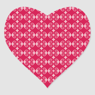 Curly Diamond Pattern Heart Sticker