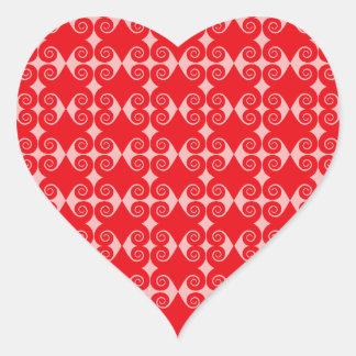 Curly Diamond Pattern Heart Sticker