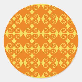 Curly Diamond Pattern Round Sticker