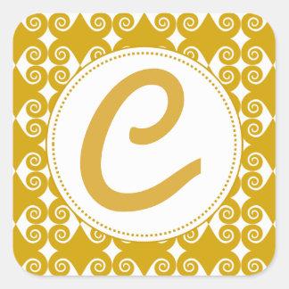 Curly Diamond Pattern Square Sticker
