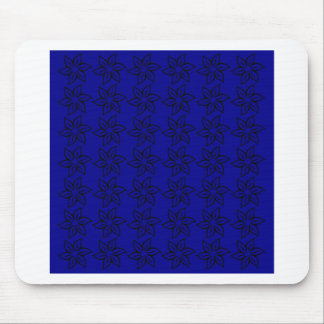 Curly Flower Pattern - Black on Dark Blue Mouse Pads