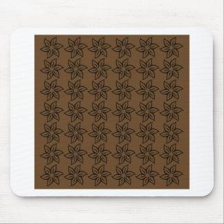 Curly Flower Pattern - Black on Dark Brown Mousepads