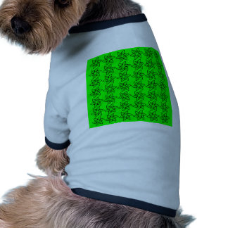 Curly Flower Pattern - Black on Electric Green Doggie T-shirt