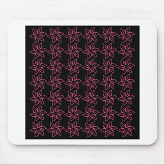Curly Flower Pattern - Dark Pink on Black Mouse Pad