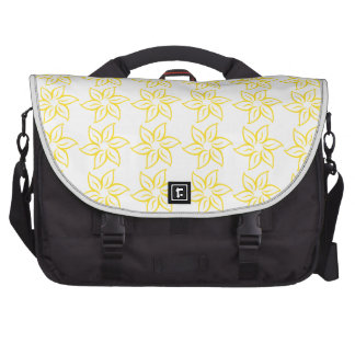 Curly Flower Pattern - Golden Yellow on White Computer Bag