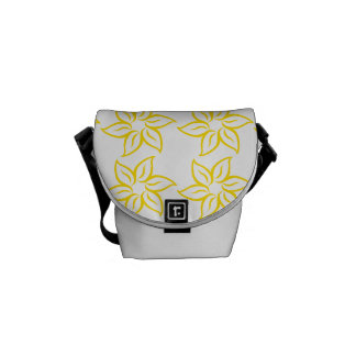 Curly Flower Pattern - Golden Yellow on White Messenger Bags
