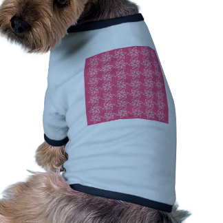 Curly Flower Pattern - White on Dark Pink Doggie T-shirt