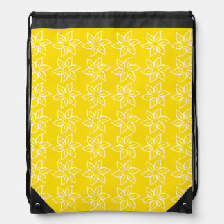 Curly Flower Pattern - White on Golden Yellow Drawstring Bags