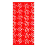 Curly Flower Pattern - White on Red Custom Photo Card