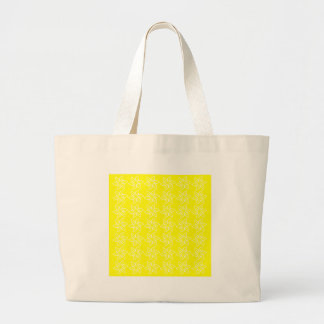 Curly Flower Pattern - White on Yellow Canvas Bag