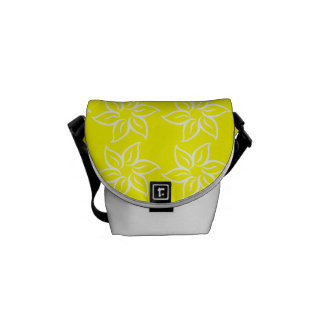 Curly Flower Pattern - White on Yellow Messenger Bags