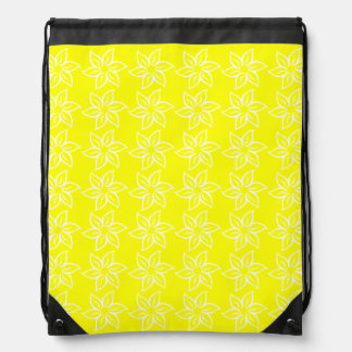Curly Flower Pattern - White on Yellow Cinch Bag