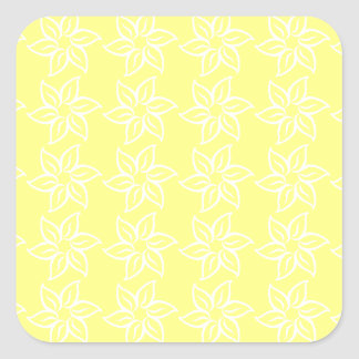 Curly Flower Pattern - White on Yellow Square Sticker