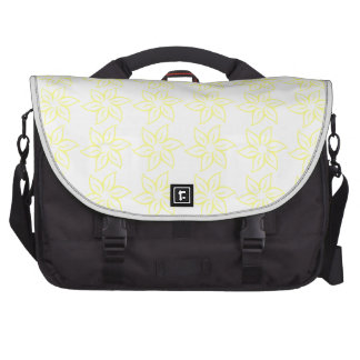 Curly Flower Pattern - Yellow on White Bag For Laptop