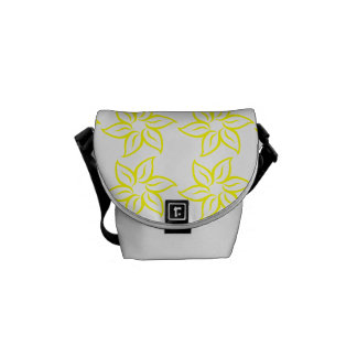 Curly Flower Pattern - Yellow on White Courier Bags