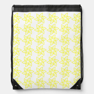 Curly Flower Pattern - Yellow on White Drawstring Bags