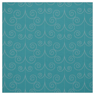 Curly geometric dark turquoise fabric