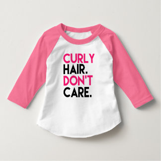 Curly Hair don't care funny Pink Raglan - Toddler Shirts