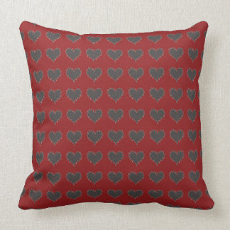 curly heart black on red throw pillow cushions