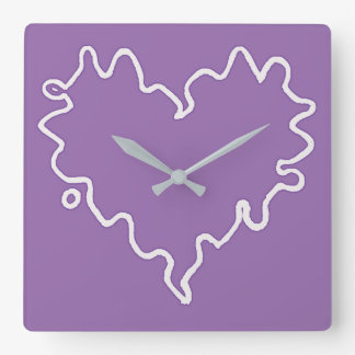 Curly Heart Mauve Wall Clock