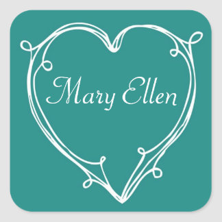 Curly Heart on Blue Personalized Square Sticker