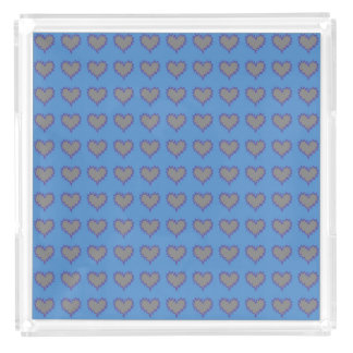 Curly Heart Silver on Blue Perfume Tray