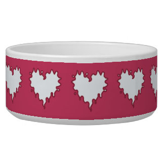 Curly Heart White on Dark Pink Ceramic Pet Bowl