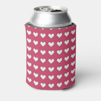 Curly Heart White on Dark Pink Soda Can Cooler