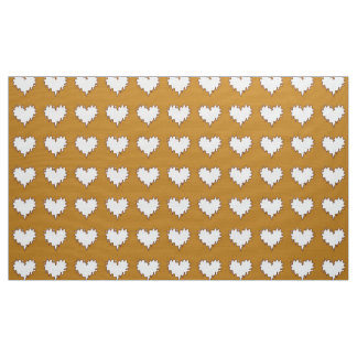 Curly Heart White on Mustard Fabric