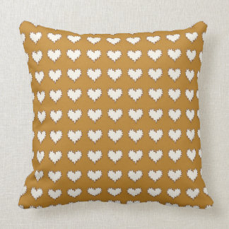 Curly Heart White on Mustard Throw Pillow Cushions